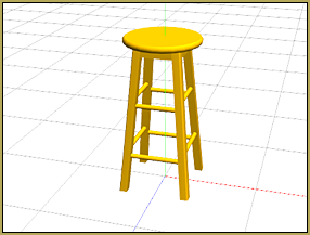 This nice wooden stool model fits into any home or on-stage scene!